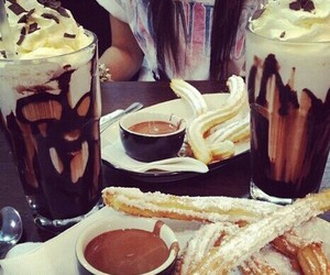 food, chocolate, and churros image