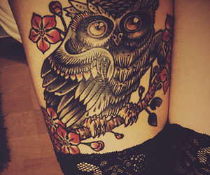 tattoo, owl, and ink image