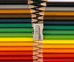 colors, pencil, and zipper image