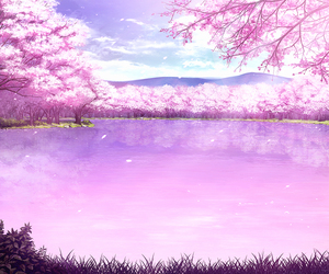 anime, art, and cherry blossom image