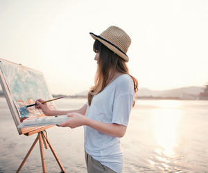 girl, painting, and art image