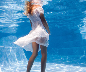 water, blue, and dress image