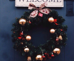 decor, door, and merry christmas image