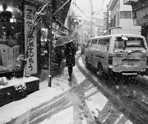 black and white, snow, and japan image