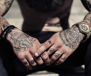 tattoo, hands, and man image