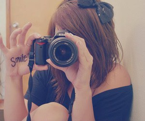 smile, girl, and camera image
