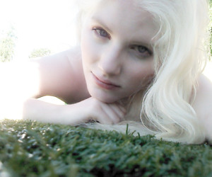 albino, grass, and white image