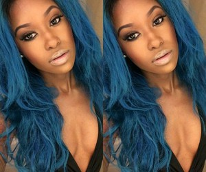 blue hair and brown skin image
