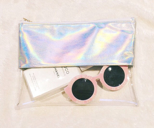 coco chanel, pink, and sunglasses image