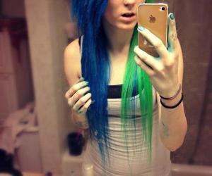 blue hair, facebook, and green hair image