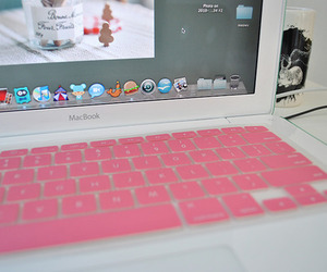 pink, macbook, and apple image