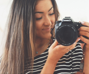 brunette, camera, and canon image
