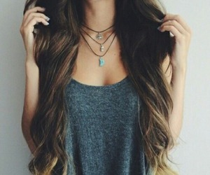hair, girl, and necklace image