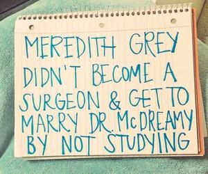 meredith grey, study, and surgeon image