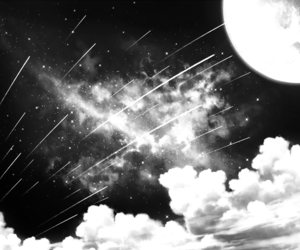 black&white, scenery, and shooting stars image