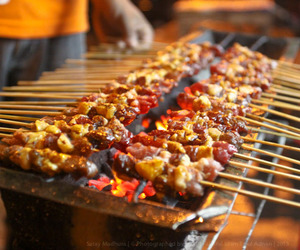 barbecue, satay, and skewer image