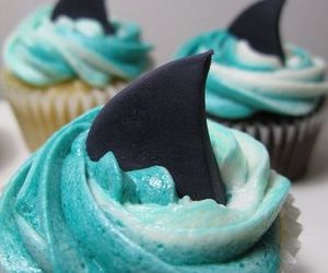 cupcake, shark, and blue image