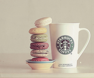 coffee, french macarons, and starbucks image