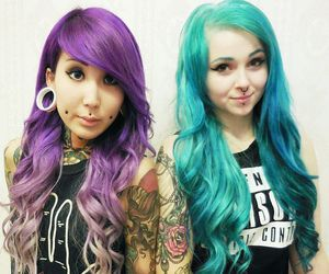 alt girl, dyed hair, and inked image