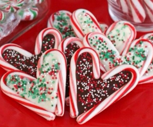 candy cane, christmas, and cookie image