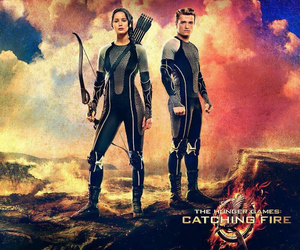 catching fire, katniss, and peeta image