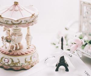 paris, pink, and carousel image