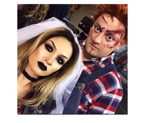 couple, Halloween, and makeup image