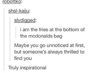 quote, fries, and funny image