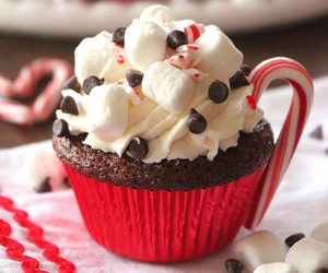 cupcake, chocolate, and christmas image