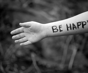 happy, be happy, and black and white image