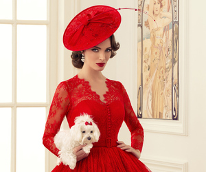 dress, dog, and red image