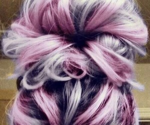 bun, pink, and hairstyle image