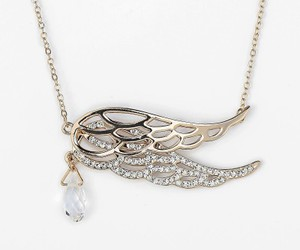 angel wing, crystal necklace, and crystal pendant image
