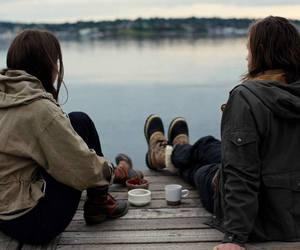 couple, lake, and boy image