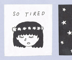 girl, stars, and tired image