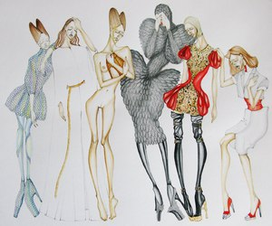 Alexander McQueen, illustrations, and fashion image