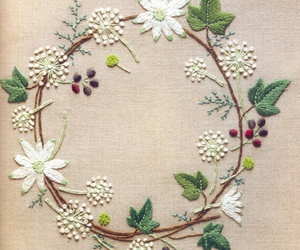 flowers, embroidery, and art image