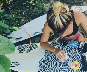 surf, girl, and surfboard image