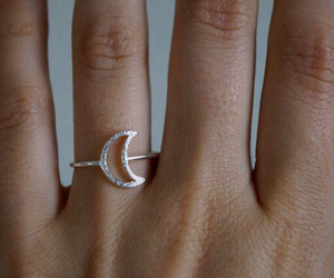 hand, moon, and jewellery image