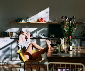 kitchen, lounging, and morning image