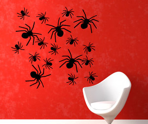 halloween party, halloween spider, and many spiders image
