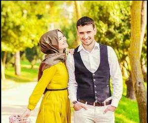 hijab, love, and couple image