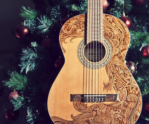 guitar, music, and christmas image