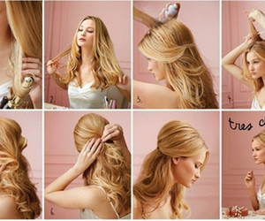 braided hairstyles, twisted hairstyle, and half updo hairstyle image