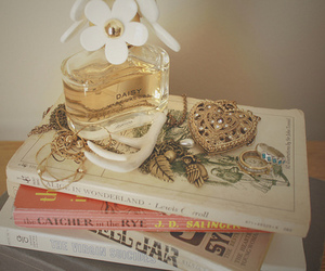 book, daisy, and perfume image