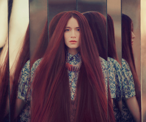 hair, mirror, and red image