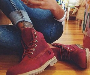 shoes, timberland, and red image