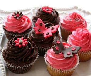 chocolate, cupcake, and pink image