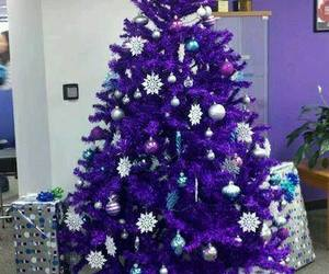 christmas, tree, and purple image