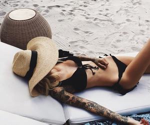 beach, hat, and sexy image